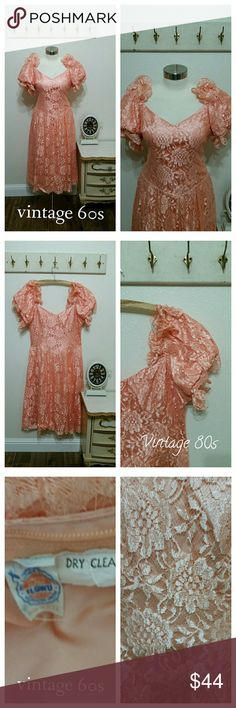 "Vintage Lace Formal Dress, Size Large, Coral Cute vintage formal prom style dress 1960s to 1970s Union label tag No makers label Poof ruffled short sleeves Sweat heart neckline Fitted waist Back zipper Lace over acetate  Peachy coral  No size label, see measurements  40"" bust area 34"" Waist 54"" Full hip area 49"" length (tea Length)  Great vintage condition Dresses Prom"