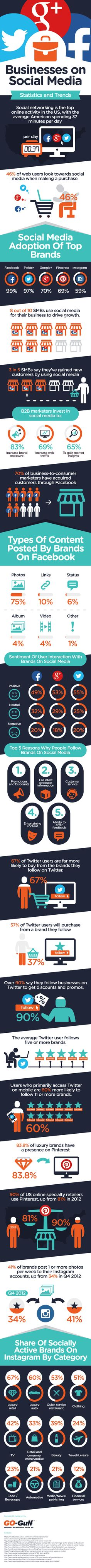 Businesses on Social Media: Statistics & Trends Infographic