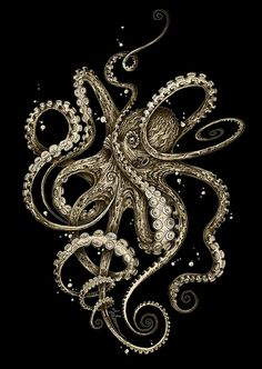 octopus tattoo 'Octopsychedelia Sepia' Canvas Print by taojb Octopus Tattoo Design, Octopus Tattoos, Octopus Art, Octopus Painting, Octopus Tentacles, Tattoos Mandala, Lotus Tattoo, Framed Art Prints, Canvas Prints