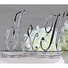 "3"" Silver Letter Monogram Crystal Wedding Cake Tops"