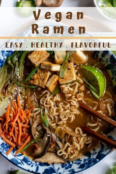 Nourishing Vegan Ramen is a flavorful blend of tofu, bok choy, green onion, ginger, mushrooms and ramen noodles, all simmered in a complex and savory broth. The perfect easy, plant-based cozy dinner or lunch for colder months! Best Tofu Recipes, Ramen Recipes, Clean Recipes, Whole Food Recipes, Vegetarian Recipes, Vegan Ramen, Vegan Soups, Vegan Food, Ramen Dishes