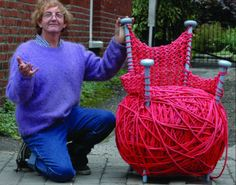 Pink Ball of Wool Deckchair
