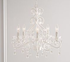 White Lydia Chandelier at Pottery Barn Kids Girls Bedroom Chandelier, Kids Chandelier, Flower Chandelier, White Chandelier, Beaded Chandelier, Pottery Barn Chandelier, Bedroom Ceiling, Chandelier Video, Chandelier Makeover