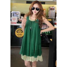 Sleeveless Ruffled Collar Color Matching Casual Women's Dress, GREEN, M in Summer Dresses | DressLily.com