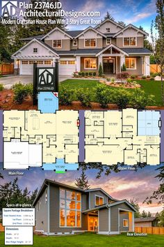 Architectural Designs Modern Craftsman House Plan 23746JD gives you 4 beds, 4+ baths and over 4,900 square feet of heated living space. Ready when you are. Where do YOU want to build? #23746jd #adhouseplans #architecturaldesigns #houseplan #architecture #newhome #newconstruction #newhouse #homedesign #dreamhome #dreamhouse #homeplan #architecture #architect #northwest #tradtional #Home #housedesign #homedesign
