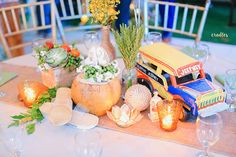 Instead of buko, niyog centerpieces and bottles with jute string... Why not?!