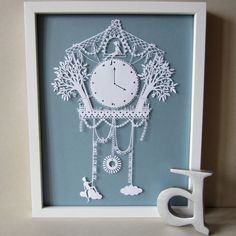 Original Hand Cut Papercut - As Soon As I Saw You - The Romantic Cuckoo Clock that can be personalized for that unique gift