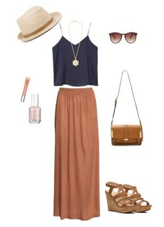 navy crop top with brown maxi skirt.. perfect for working on the rooftop bar this summer. ❤️