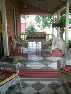 Pergola Canisse Pvc - Covered Pergola Attached To House - - - Pergola Videos Modernas Lona - Backyard Pergola Painted Porch Floors, Porch Paint, Porch Flooring, Painted Rug, Painting Concrete, Floor Painting, Decks And Porches, Outdoor Living, Outdoor Decor