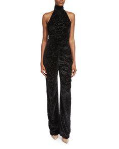 Halter-Neck+Straight-Leg+Jumpsuit,+Black+by+Cushnie+Et+Ochs+at+Neiman+Marcus.
