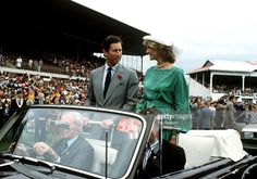 April 18 1983 Princess Diana  and Prince Charles arriving at Eden Park Stadium in Auckland, New Zealand in an open car