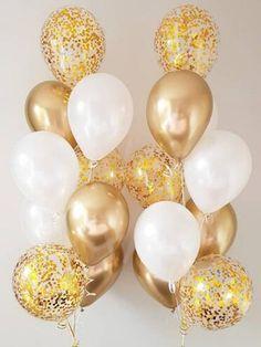 White and Gold Balloon Bouquet, Metallic Gold Confetti Balloons, Balloon, Party Decorati Ballons Brilliantes, Glitter Ballons, Clear Balloons, Metallic Balloons, Gold Confetti Balloons, White Balloons, Red Balloon, Latex Balloons, Gold Birthday Party