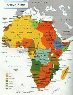 1914 Afrikayı işgal eden ülkeleri haritası
