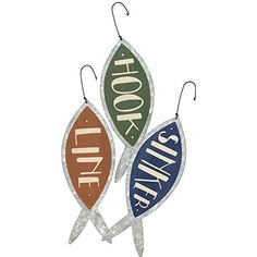 Hook, Line and Sinker - Metal Fishing Ornaments - Set of 3 - Lake House Beach Cabin Primitives By Kathy