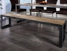 RAILWAY - steel bench wood and metal (Dining bench) Dining Bench, Dining Chairs, Dining Room, Teak, Loft, Home Gadgets, Trends, Wood And Metal, Metallica
