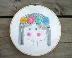 Flower Girl Embroidery Hoop Art /  Embroidery Hoop Art / Nursery Emboridery Hoop Art / Cute embroidery hoop art