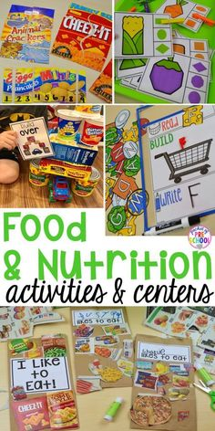 Food and nutrition centers for preschool, pre-k, and kindergarten: reading, writing, math, fine motor, dramatic play, STEM, and art! Perfect for a grocery store theme.