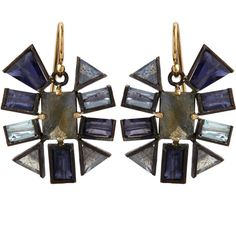 Nak Armstrong Silver Mixed Gemstone Starburst Earrings ($1,445) ❤ liked on Polyvore featuring jewelry, earrings, silver jewellery, oxidized silver jewelry, oxidized silver earrings, silver hook earrings and silver jewelry
