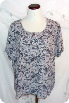 Croft & Barrow Womens Top Plus Size 2X Black White Paisley Short Sleeve Cotton #CroftBarrow #KnitTop #CareerCasual #Fashion #Clothing #Womens #Plussize #Top #Size2X