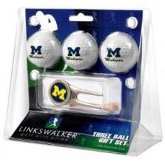 Michigan Wolverines 3 Ball Gift Pack w/ Cap Tool