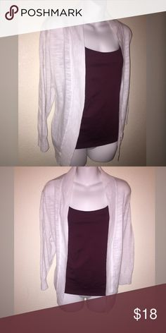 ❇️1X cardigan White sweater , great and lightweight for spring at this is a sheer cotton , perfect over dresses or a cami as shown. Size 1X from St Johns Bay. GUC.  **Listing is for cardigan only. Tags: summer sweater Sweaters Cardigans
