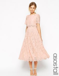 ASOS TALL SALON Lace Crop Top Midi Prom Dress