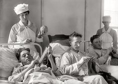 American soldiers knitting ~ Walter Reed Military Hospital circa 1918