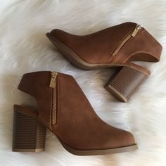 "•Ankle Booties• Chestnut ankle booties,features a low inch and slingback heel giving the shoe a more laid-back,comfortable look/vegan leather upper/side zip closure/enclosed toe/wooden heel/heel height: 3.25""/new in box/price is firm/thanks for looking ❌No Trades❌ Soda Shoes Ankle Boots & Booties"