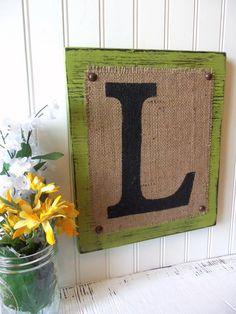BURLAP sign monogram Letter Home or Wedding by OldAndNewShoppe, $30.00