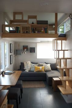 Modern tiny house with wooden shelving