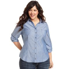 Belle Du Jour Plus Size Shirt, Long-Sleeve Chambray - Junior Plus Size - Plus Sizes - Macy's