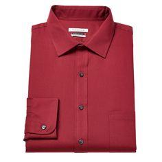 Men's Van Heusen Flex Collar Regular-Fit Pincord Dress Shirt, Size: 16.5-32/33, Red