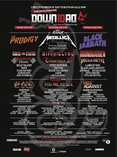 Download Festival 2012 Poster Black Sabbath Concert, Chase And Status, Tenacious D, Biffy Clyro, Fear Factory, Steel Panther, Billy Talent, Black Label Society, Vintage Concert Posters