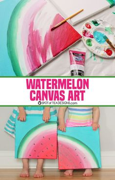 Make a gorgeous watermelon canvas art this summer! A great art activity for older kids this summer! #watermelonart #artprojectsforkids