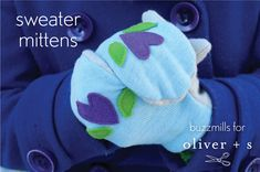 upcycled sweater mittens tutorial // buzzmills for oliver + s
