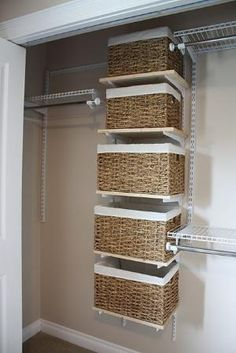 I like the baskets, one for flip flops, scarves, belts, etc. for our walk-in closet
