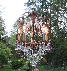I would love a cute small vintage chandelier like this or something like it someday over my kitchen table.