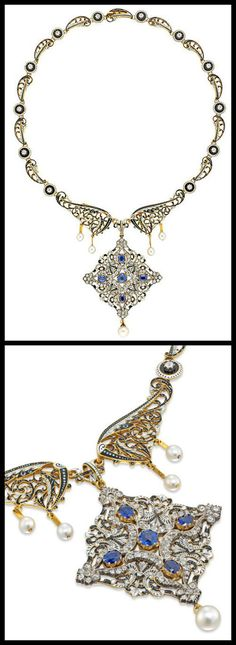 Antique enamel, pearl, diamond, and sapphire necklace by C. and A. Giuliano.
