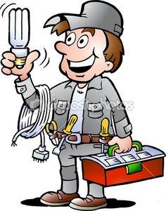 ilustracja rysowane ręcznie wektor zadowolony elektryk faktotum, trzyma żarówkę budowę energooszczędnego — Ilustracja stockowa #18965137