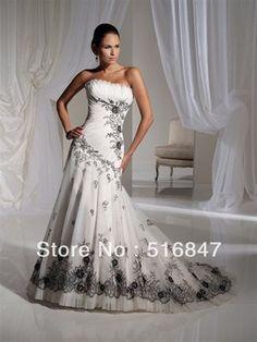 New Fashion Long White/Black Organza Applique Mermaid/Trumpet Strapless Bridal Gown Wedding Dresses Custom Size Free Shipping