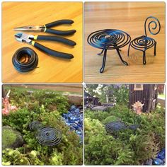 DIY - fairy garden furniture website not in English but the pictures are good. and twig furniture and fairy house! Fairy Crafts, Garden Crafts, Garden Projects, Mini Fairy Garden, Fairy Garden Houses, Fairy Gardening, Fairies Garden, Gardening Hacks, Gnome Garden