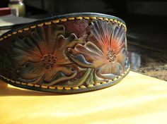 Hound collar leather dog collar Colorful dog by AcrossLeather