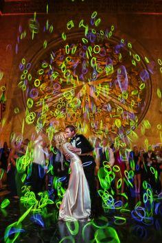 Natalie & Evan's Hall of State Wedding at Fair Park in Dallas Wedding Send Off, Wedding Exits, Wedding With Kids, Wedding Photos, Dream Wedding, Wedding Day, Glow Stick Wedding, Glow Stick Party, Glow Sticks