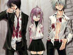 Anime/manga: Zombie Loan Characters: Shito, Michiru, and Chika, this anime seems more josei than shounen to me. All Anime, Me Me Me Anime, Manga Anime, Zombies, Akatsuki, Anime Zombie, School Of The Dead, High School, Peach Pit