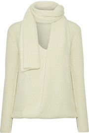Draped ribbed cashmere sweater