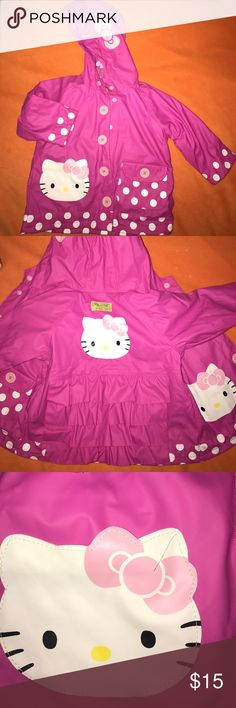 Western Chief Kids Hello Kitty rain jacket 2T This pink Western Chief Kids Hello Kitty rain jacket in size 2T has been only gently worn and is as good as new. Snaps up the front and has 2 pockets and darling ruffles. Cozy poly/cotton lining. Western Chief Jackets & Coats Raincoats