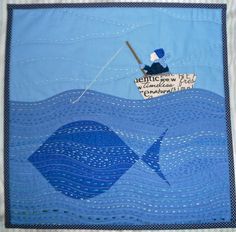 Old Man and the Fish quilt by Janine at Rainbow Hare Quilts. I love this !! :-)