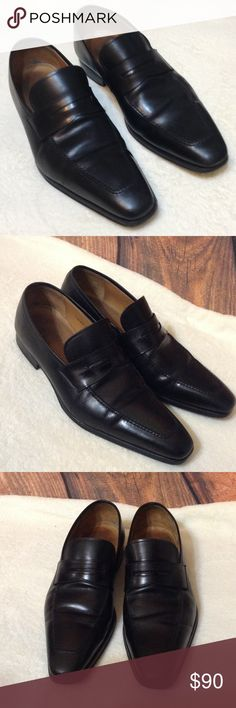 "Magnanni Neiman Marcus Penny Loafers Shoes Sz 10 M MAGNANNI for NEIMAN MARCUS"" PENNY LOAFERS BLACK DRESS SHOES SIZE 10M Magnanni Shoes Loafers & Slip-Ons"