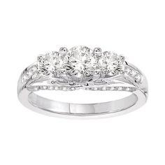 Amazon.com: 14k White Gold .60 ct Round Center Diamond Three Stone Engagement Ring (1.50 cttw, H-I Color, I1-I2 Clarity)
