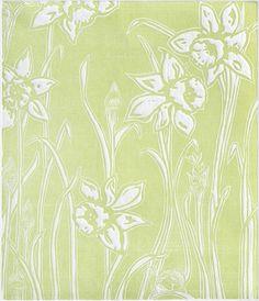 Woodcut Relief Print IN BLOOM  Springtime green by RedTailStudios,